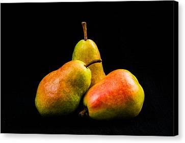 Three Pears Canvas Print by Jon Woodhams