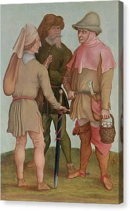 Three Peasants, 16th Or 17th Century Oil On Panel Canvas Print by Albrecht Durer or Duerer
