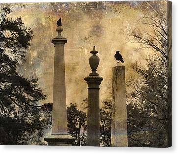 Three Perches Two Crows Canvas Print by Gothicolors Donna Snyder