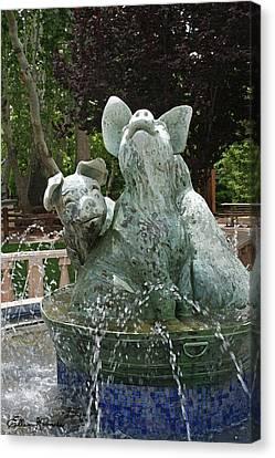 Three Piggy Fountain Canvas Print by Ellen Henneke