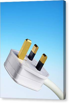 Three-pin Electrical Plug Canvas Print by Science Photo Library