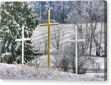 Three Roadside Crosses - Mount Airy Md Winter Canvas Print by Michael Mazaika