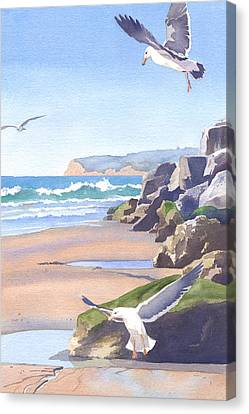 Three Seagulls At Coronado Beach Canvas Print by Mary Helmreich