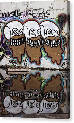 Three Skulls Graffiti Canvas Print by Carol Leigh