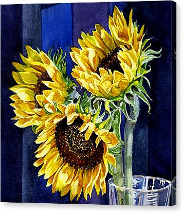 Three Sunny Flowers Canvas Print by Irina Sztukowski
