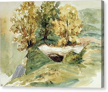 Three Trees At The Edge Of A Hill Canvas Print by Ferdinand Victor Eugene Delacroix