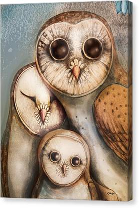 Three Wise Owls Canvas Print by Karin Taylor
