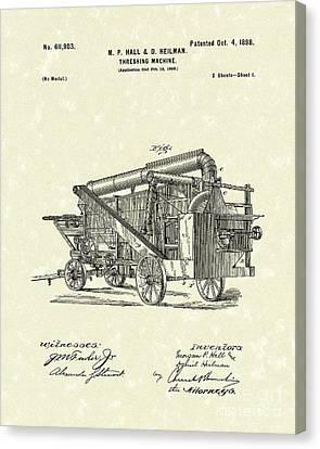 Threshing Machine 1898 Patent Art Canvas Print by Prior Art Design