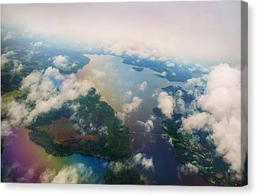 Through The Clouds. Rainbow Earth Canvas Print by Jenny Rainbow