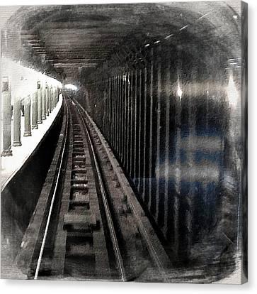 Through The Last Subway Car Window 3 Canvas Print by Tony Rubino