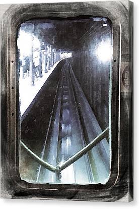 Through The Last Subway Car Window 4 Canvas Print by Tony Rubino