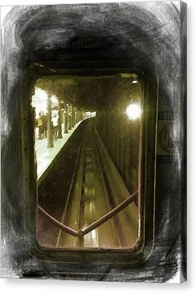 Through The Last Subway Car Window Canvas Print by Tony Rubino