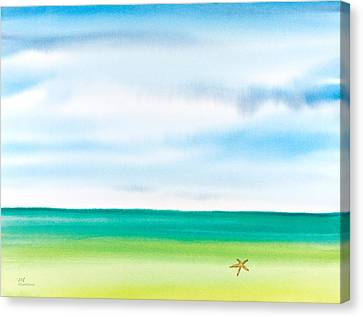 Throwing Starfish Into The Sea Watercolor Painting Canvas Print by Michelle Wiarda