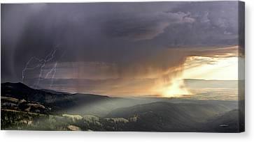 Thunder Shower And Lightning Over Teton Valley Canvas Print by Leland D Howard