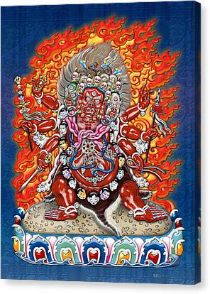 Tibetan Thangka  - Wrathful Deity Hayagriva Canvas Print by Serge Averbukh