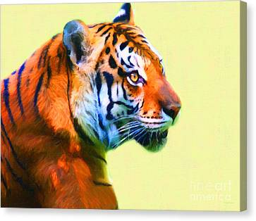 Tiger . 7d2058 . Painterly Canvas Print by Wingsdomain Art and Photography