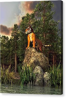 Tiger By The Lake Canvas Print by Daniel Eskridge