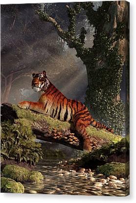 Tiger On A Log Canvas Print by Daniel Eskridge