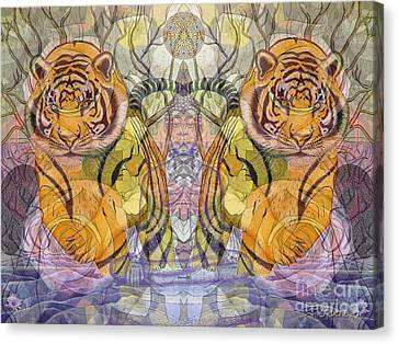 Tiger Spirits In The Garden Of The Buddha Canvas Print by Joseph J Stevens