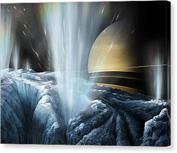 Tiger Stripes The Icy Jets Of Enceladus Canvas Print by Lucy West