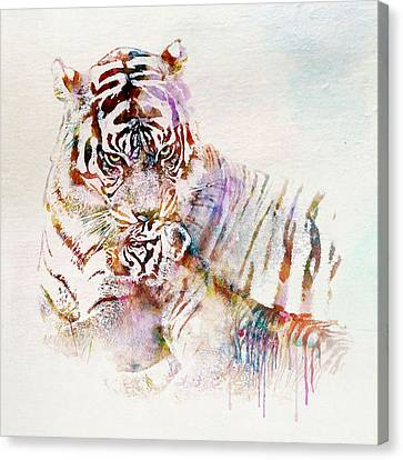 Tiger With Cub Watercolor Canvas Print by Marian Voicu