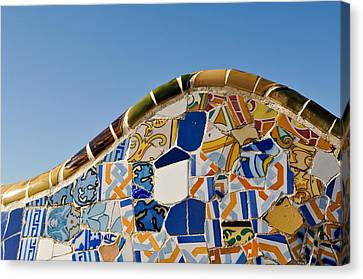 Tile Background In Park Guell In Barcelona Spain Canvas Print by Brandon Bourdages