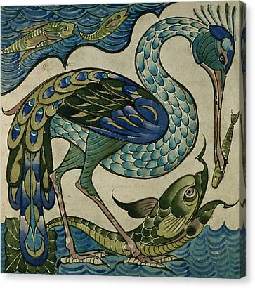 Tile Design Of Heron And Fish Canvas Print by Walter Crane