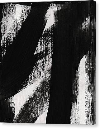 Timber- Vertical Abstract Black And White Painting Canvas Print by Linda Woods