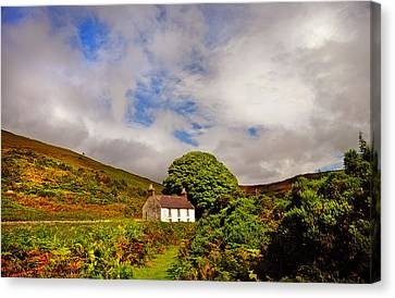 Time Goes By So Slowly. White Abandoned House In Wicklow Canvas Print by Jenny Rainbow