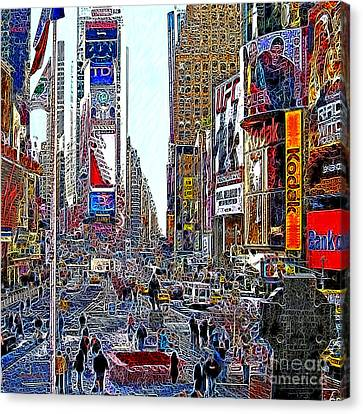 Time Square New York 20130503v8 Square Canvas Print by Wingsdomain Art and Photography
