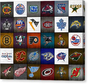 Time To Lace Up The Skates Recycled Vintage Hockey League Team Logos License Plate Art Canvas Print by Design Turnpike