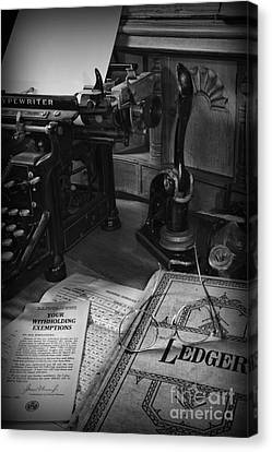 Time To Pay Your Taxes Black And White Canvas Print by Paul Ward