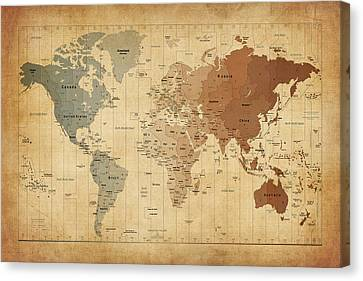Time Zones Map Of The World Canvas Print by Michael Tompsett