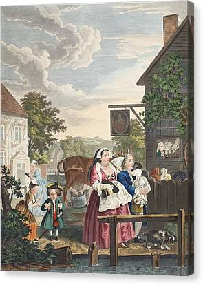 Times Of Day, Evening, Illustration Canvas Print by William Hogarth