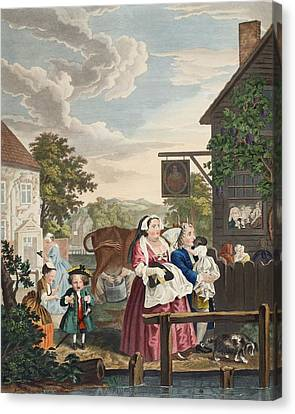 Times Of The Day Evening, Illustration Canvas Print by William Hogarth