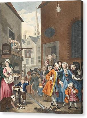 Times Of The Day Noon, Illustration Canvas Print by William Hogarth