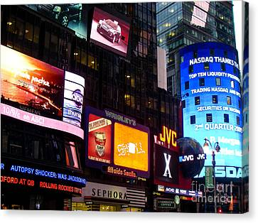 Times Square At Night New York City Canvas Print by Robert Ford