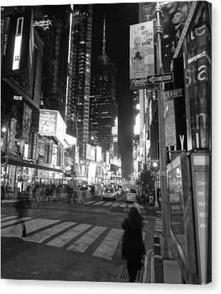 Times Square In Black And White Canvas Print by Dan Sproul