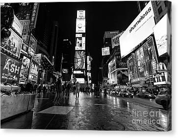 Times Square Mono Canvas Print by John Farnan