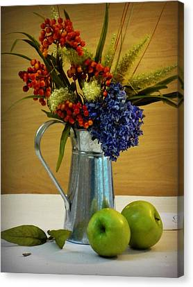 Tin Bouquet And Green Apples Canvas Print by Deborah  Crew-Johnson