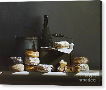 Tins And Donuts Canvas Print by Larry Preston