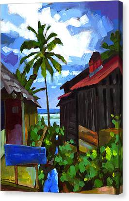 Tiririca Beach Shacks Canvas Print by Douglas Simonson