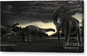 Titanosaurs In The First Storm Canvas Print by Rodolfo Nogueira