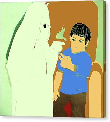 To Scare S Ghost Canvas Print by Joan Shortridge