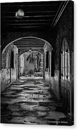 To The Courtyard - Bw Canvas Print by Christopher Holmes