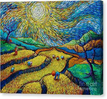 Toil Today Dream Tonight Diptych Painting Number 1 After Van Gogh Canvas Print by Paul Hilario