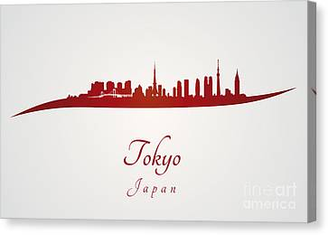 Tokyo Skyline In Red Canvas Print by Pablo Romero
