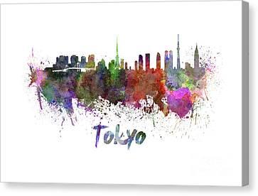 Tokyo Skyline In Watercolor Canvas Print by Pablo Romero