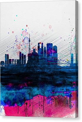 Tokyo Watercolor Skyline 2 Canvas Print by Naxart Studio