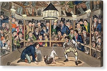 Tom And Jerry Sporting Their Blunt Canvas Print by I. Robert & George Cruikshank